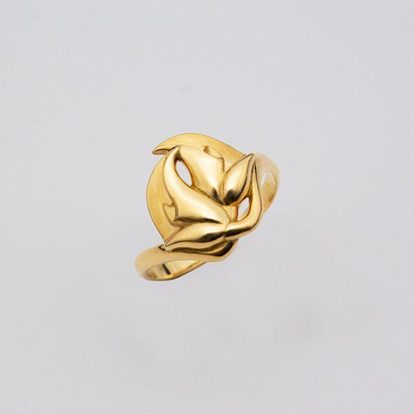 maindelion bague de fiancailles art nouveau fleurs or jaune